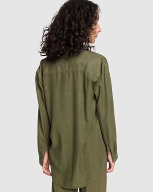 Quiksilver Quiksilver Womens Luxury Longline Long Sleeve Shirt - Casual shirts (Burnt Olive)