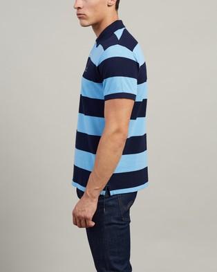 Gant Barstripe Pique SS Rugger Polo - Shirts & Polos (Toy Blue)