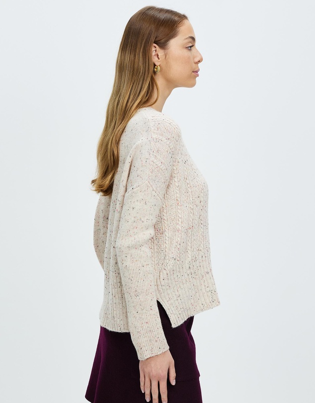 Women Cable Up Knit Sweater