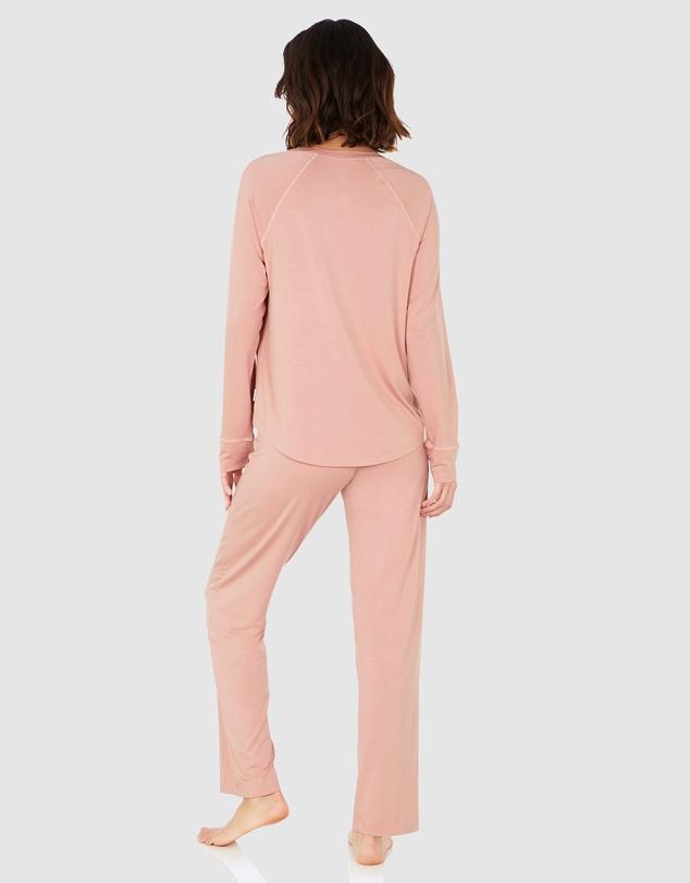 Women Goodnight Sleep Set - Raglan Top and Pants - Dusty Pink
