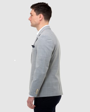 Brooksfield Window Pane Check Blazer - Suits & Blazers (Grey)
