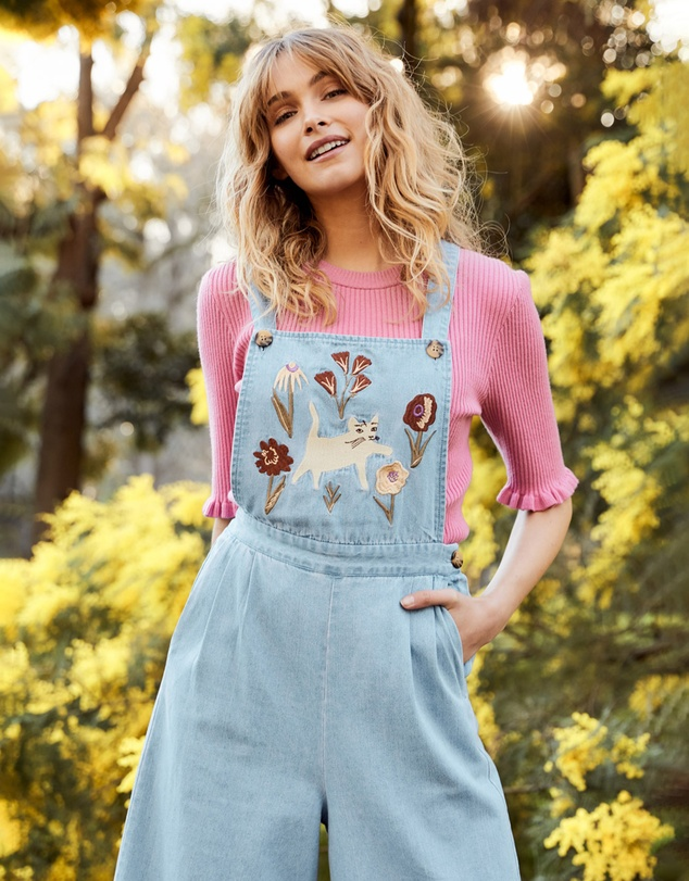 Women Fleur Embroidered Overalls