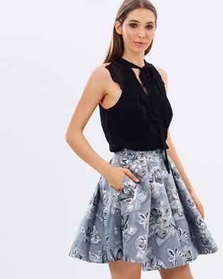 Karen Millen – Metallic Double Layer Dress – Dresses (Silver)