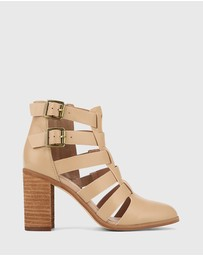 Wittner - Radcliffe Leather Strap Detail Block Heel Ankle Boots