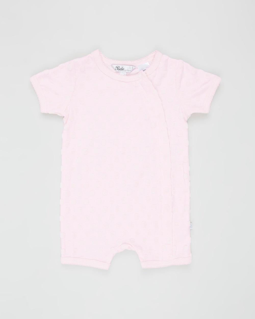 Bebe by Minihaha Spot Layette Short Sleeve Romper Babies Shortsleeve Rompers Pink Circle