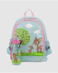 Bobbleart - Large Backpack and Drink Bottle Pack Woodland Animals