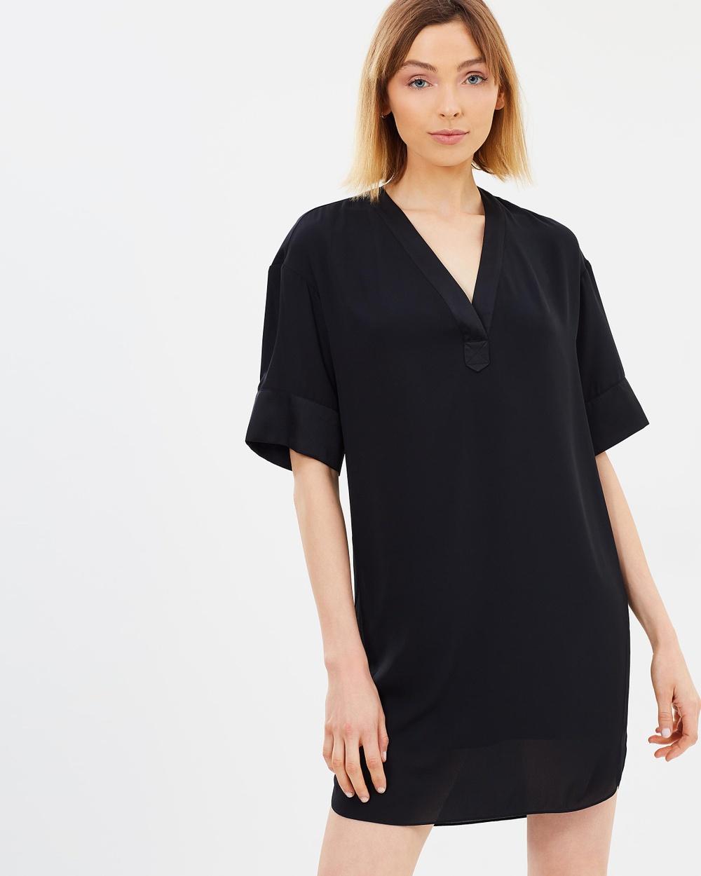 Warehouse Satin Mix Dress Dresses Black Satin Mix Dress
