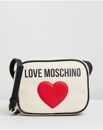 LOVE MOSCHINO - Canvas Heart Logo Cross-Body Bag