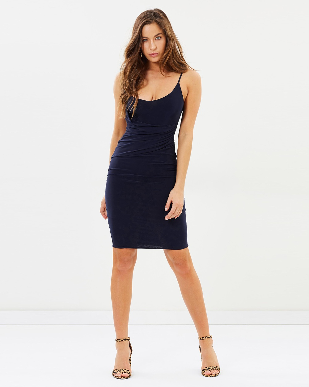 Missguided Slinky Strappy Wrap Midi Dress Bodycon Dresses Navy Slinky Strappy Wrap Midi Dress