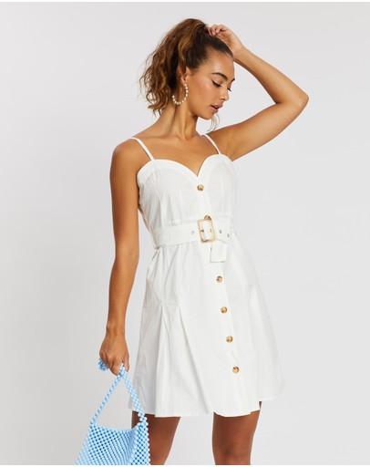 Missguided Poplin Cami Button-through Dress White