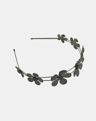 Olga Berg April Daisy Metal Headband - Hair Accessories (Gunmetal)