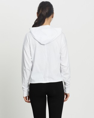 DKNY Cropped Hoodie Tee with Logo Patch - Hoodies (White)