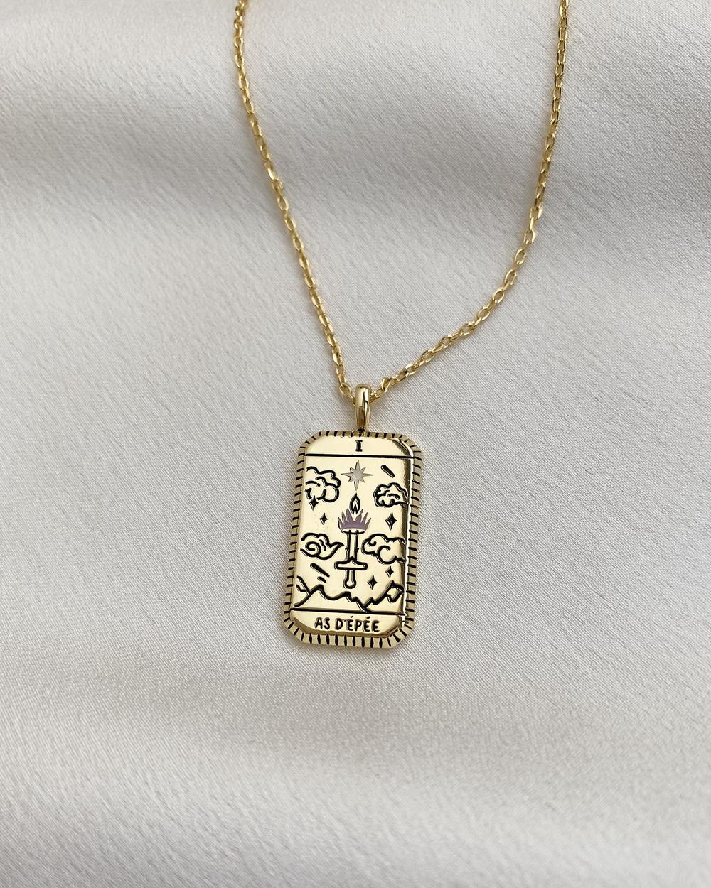 Wanderlust + Co As D'épée Gold Tarot Necklace Jewellery Gold
