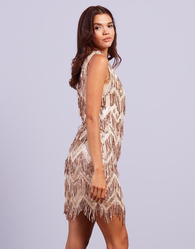 Women One Shoulder Zig Zag Sequin Mini Dress