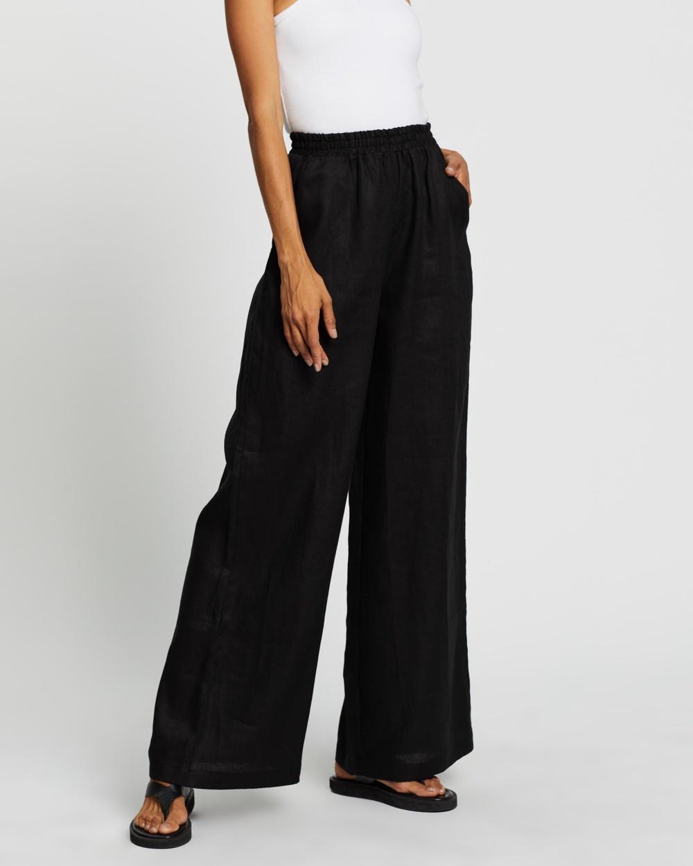 AERE Linen Wide Leg Pants Black