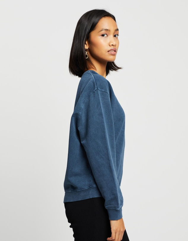Women Petite Acid Wash Sweatshirt