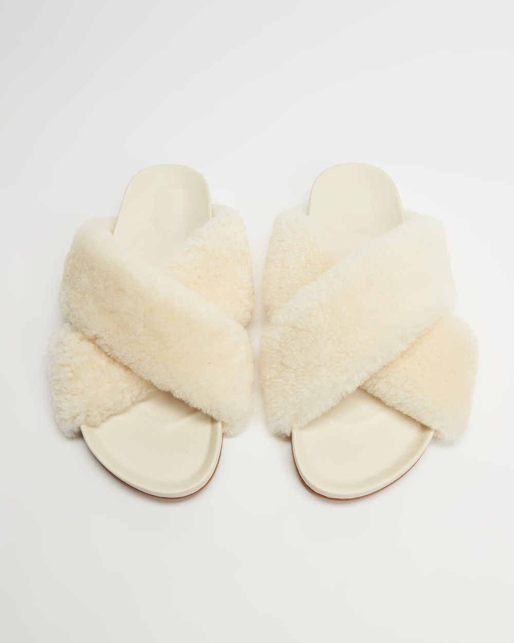 AERE Wool Crossover Slides Sandals Off White & Suede