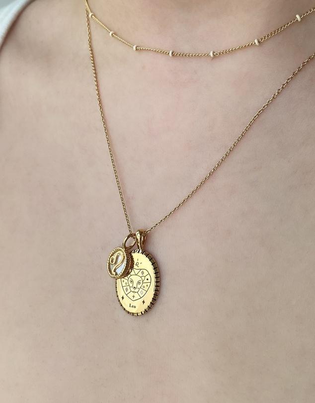 Women Leo Zodiac Mother of Pearl 14K Gold Vermeil Pendant
