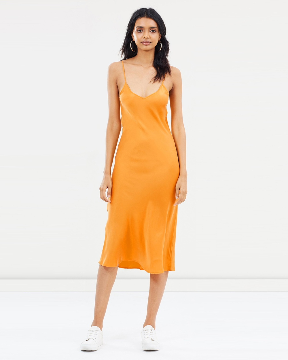 Silk Laundry Classic 90s Silk Slip Dress Dresses Iconic Marigold Classic 90s Silk Slip Dress
