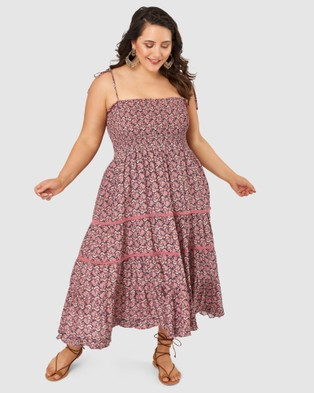 The Poetic Gypsy Festival Shirred Print Dress - Printed Dresses (Pink)