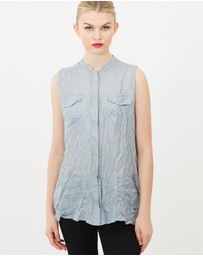 SIYONA - Crinkled Sleeveless Mandarin Collar Silk Shirt