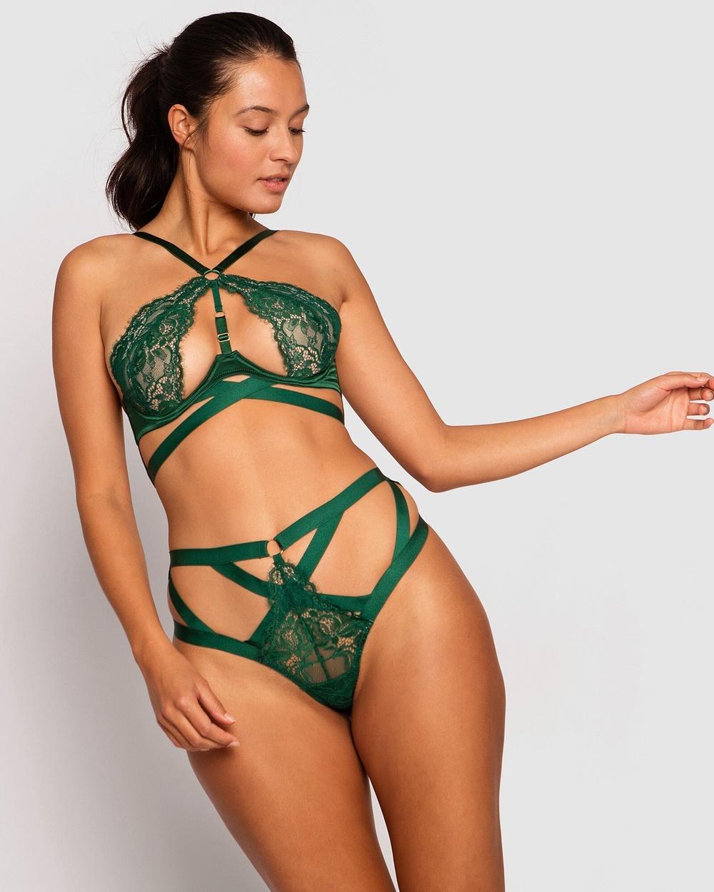 Bras N Things Shiloh High Waisted Brazilian Knicker Lingerie Dark Green Australia