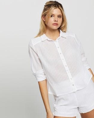 Rusty Sunrise Beach Shirt - Swimwear (White)