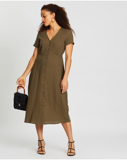 Cotton On Woven Campbell Button Front Midi Dress Olive Night