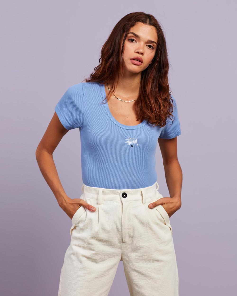 Stussy - Graffiti Rib SS Tee - T-Shirts & Singlets (Cornflower Blue) Graffiti Rib SS Tee
