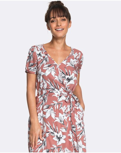 Roxy - Womens Monument View Floral Print Mini Wrap Dress