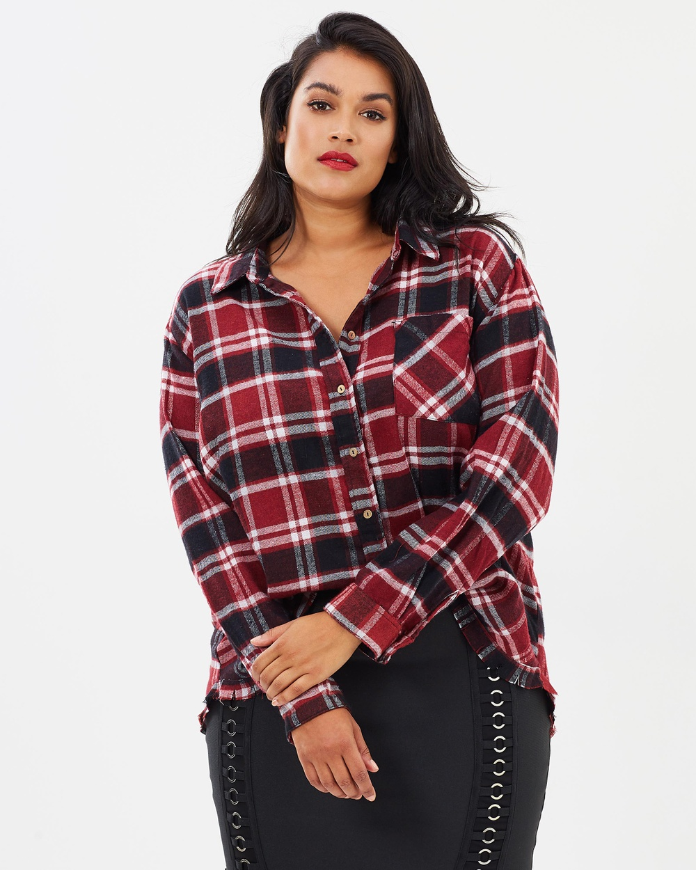 Atmos & Here Curvy ICONIC EXCLUSIVE Farah Check Shirt Tops Check ICONIC EXCLUSIVE Farah Check Shirt
