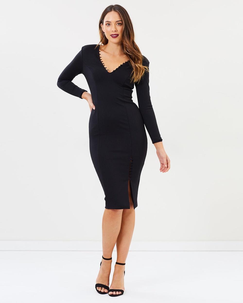 SANTINA-NICOLE Spencer Button Up Dress Bodycon Dresses Black Spencer Button Up Dress