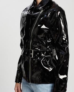 Missguided Vinyl Belted Biker Jacket - Coats & Jackets (Black)