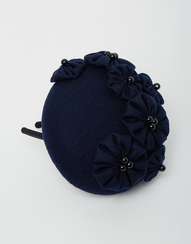 Women Small Winter Pillbox with Flowers