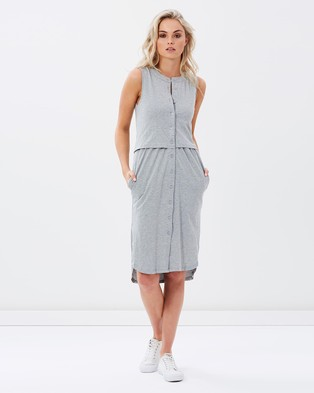 Atmos & Here – Jules Button Up Tank Midi Dress – Dresses (Grey)