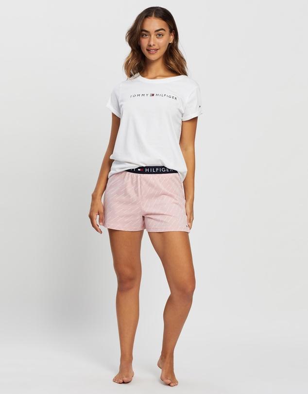Women Mini Logo Print Shorts Pyjama Set