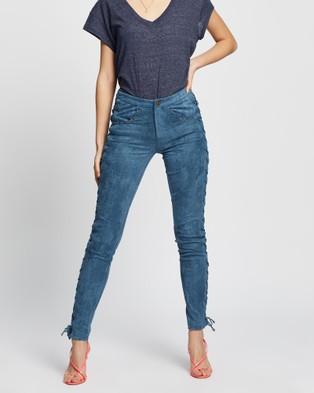 LENNI the label Reservoir Pants - Pants (Blue Faux Suede)