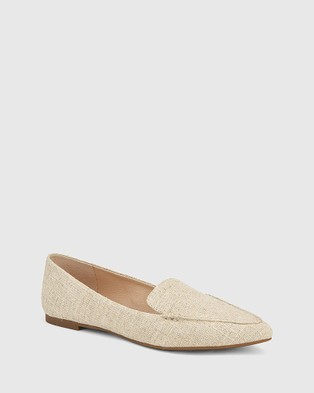 Wittner Pamina Linen Pointed Toe Loafers - Flats (Beige)