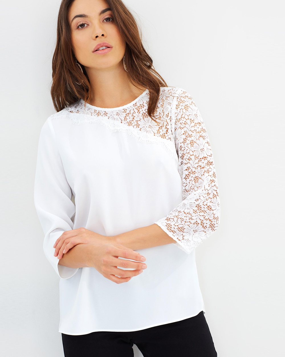 Dorothy Perkins Half & Half Lace Top Tops Ivory Half & Half Lace Top