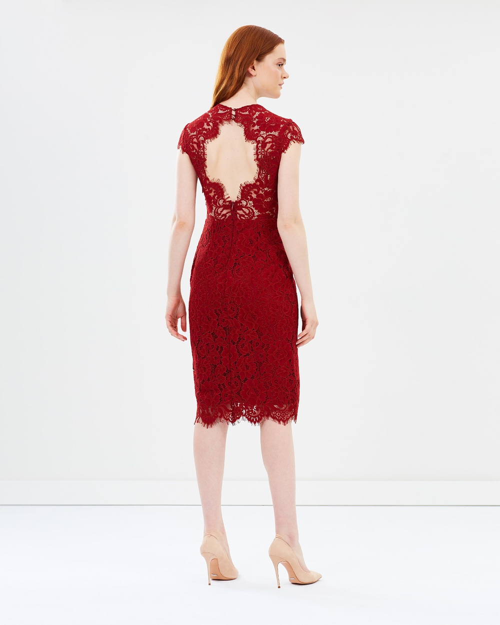 Ivy & Oak Lace Cocktail Dress Dresses Rusty Red Lace Cocktail Dress