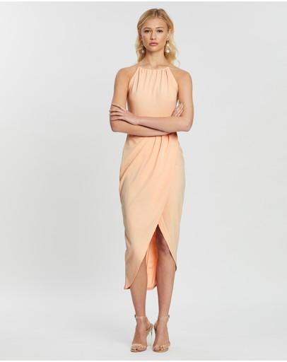 Missguided Halter Wrap Bodycon Midi Dress Nude