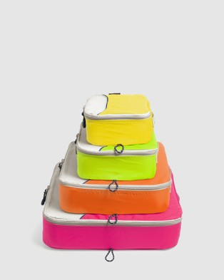Globite Packing Cubes 4 Piece - Travel and Luggage (Neon Lights)