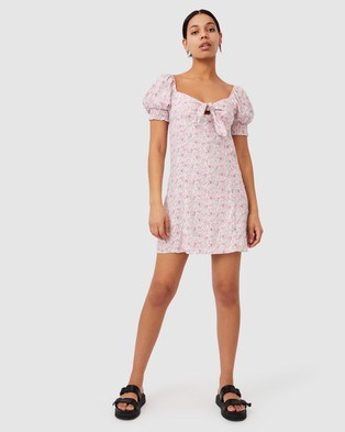 Cotton On Woven Charlie Tie Front Mini Dress - Printed Dresses (Becca Floral Raspberry Pink)