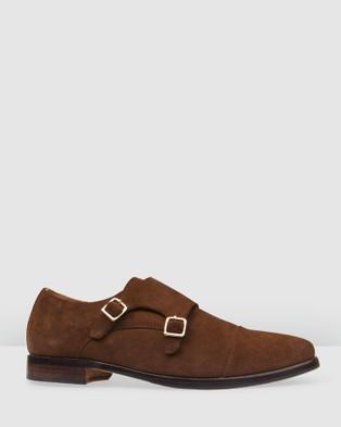 Bared Footwear Tungsten 2 Double Monk   Men's - Dress Shoes (Dark Chocolate Suede)