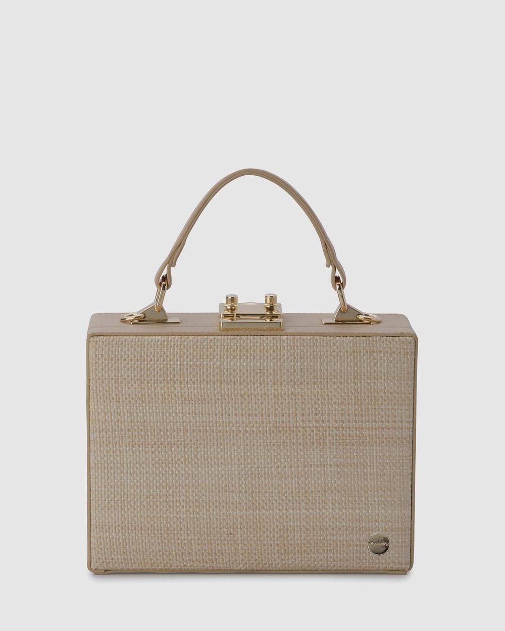Olga Berg Georgia Straw Weave Top Handle Handbags Natural