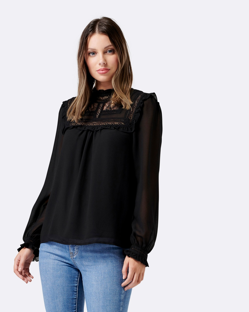 Forever New Elsa Embroidered Yoke Blouse Tops BLACK Elsa Embroidered Yoke Blouse