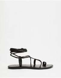 AERE - Ankle Tie Leather Sandals