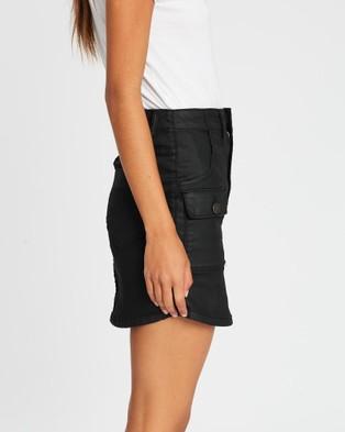 DRICOPER DENIM Coated Utility Skirt - Denim skirts (Coated Black)