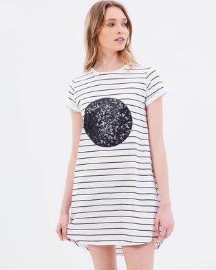 Cartel & Willow – Chester Tee Dress – Dresses (Black Stripe & Black Sequin)