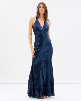 Bariano – Primrose V Neck Fishtail Gown – Dresses (Midnight Blue)